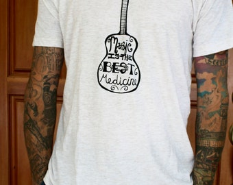 Music Is The Best Medicine - TRI-BLEND Unisex T Shirt - Hand Screen Printed