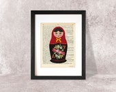 Matryoshka print-Russian doll print-Matryoshka on book page-Matryoshka dictionary print-Nursery print-children wall art-NATURA PICTA-DP043