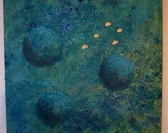 Fish School Original Acrylic Painting on Canvas