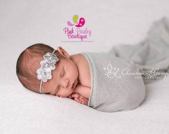 Newborn Headband, Gray headband, Silver Baby Hairbows, Baby Bows, Silver Princess Birthday, Baby Girl Headbands, Silver Gold Hairbows, Gray