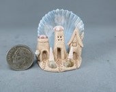 3 Handcrafted Miniature Fairy Sandcastles In A Seaside Scene OOAK by O'Dare