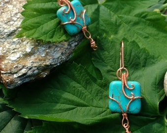 Stone and Copper Earrings