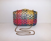 Vintage rainbow rattan raffia boxy summer large clutch handbag shoulder bag chain strap by Vanessa