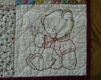Embroidered Nursery Animals Quilt