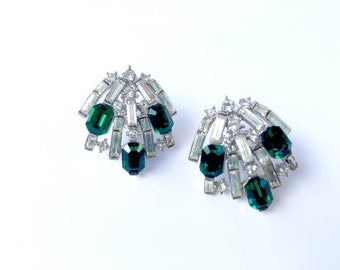 Trifari Emerald & Clear Rhinestone Clip On Earrings Designer Signed Vintage Fashion Bridal Jewelry