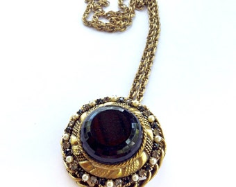 Original by Robert Black Glass & Rhinestone Pendant Brooch Necklace Signed Vintage Fashion Jewelry