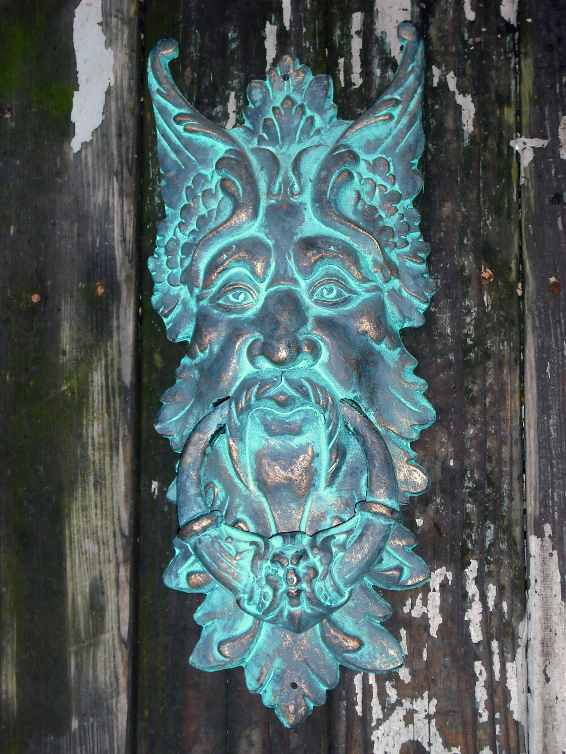 Large vintage gothic greenman cast iron door knocker with - Greenman door knocker ...