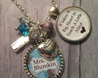 Teacher Gift / Personalized Teacher Necklace / Teacher Jewelry / End of School Gift / DayCare Worker / Teacher Aide / Speech Therapist /