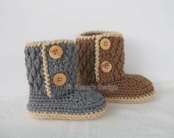 Crochet Pattern 107 for Two-Button Toddler Booties - Crochet Boot Pattern - Boot Crochet Pattern - Crochet Slipper Pattern - Winter Boots