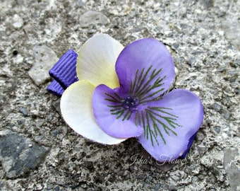 Violet hair flower clip, realistic, wild violet hair flower