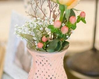 Peach Vase Shabby Chic Vintage Bud Vase