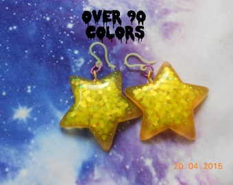 Kawaii Sparkly Star Earrings, Pastel Goth, Fairy Kei, Harajuku