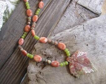 Jasper carved necklace, stone necklace, gemstone necklace, carved stone jewelry, woodland jewelry, forest jewelry, autumn style jewelry