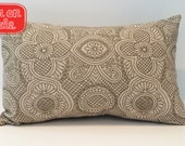 ON SALE | Brown and Ivory Floral Print Pillow Cover