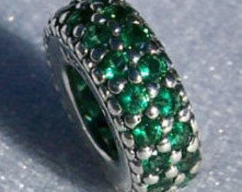 Pandora Inspiration Within Green CZ Genuine Designer Spacer Bracelet Glam Charm FREE SHIPPING