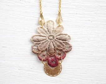 Tan and Burgundy Ombre Lace and Gold Necklace