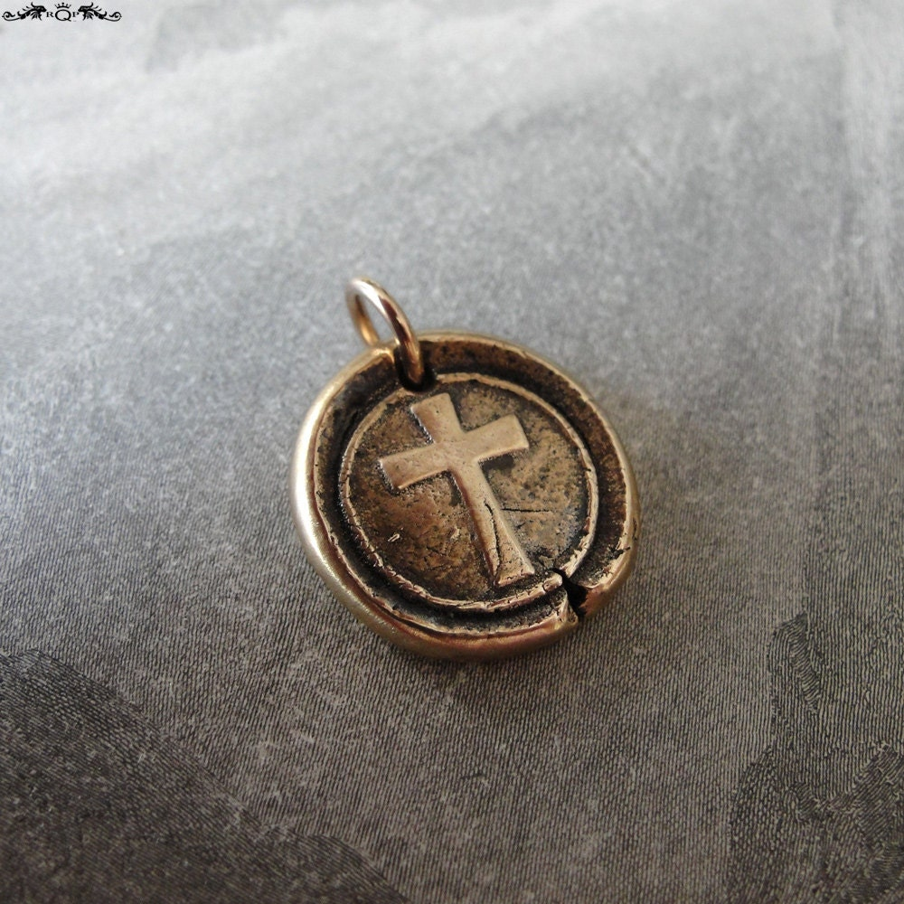 cross wax seal charm religious christian wax seal jewelry in