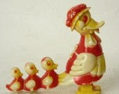Very Old Mother Duck and Baby Duclklings Pull Toy Waddle Feet Toy
