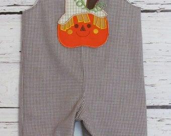 Fall Longall Shortall Jon Jon Pumpkin Scarecrow Applique Romper Halloween Thanksgiving First Birthday