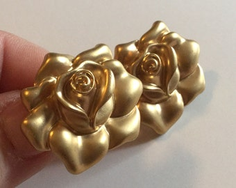 AVON Costume Clip on Vintage Earrings ROSE