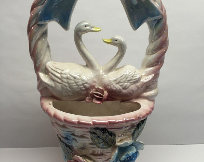 Featured listing image: Vintage White Ceramic Swan Vase Large blue Bow and Raised ceramic flowers Love Birds 1991