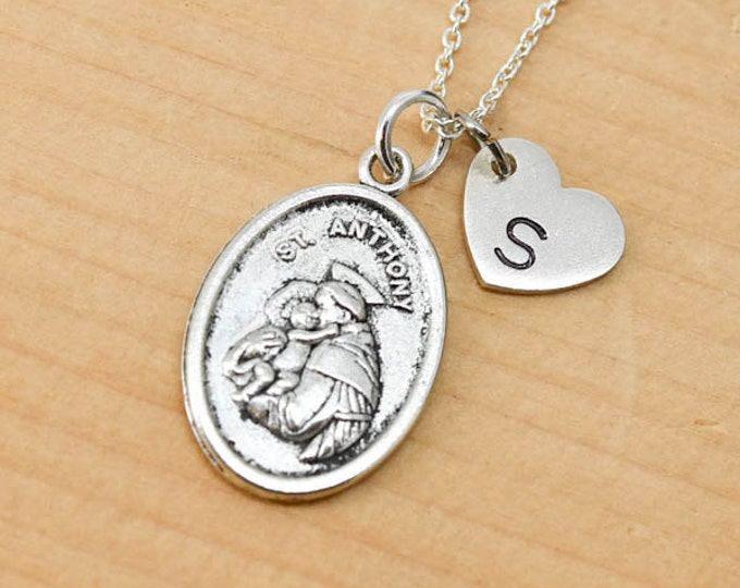 St Anthony Necklace, Charm,  Pendant, Initial Necklace, Personalized Necklace, Sterling Silver, Heart Charm Necklace, Bridesmaid Gift
