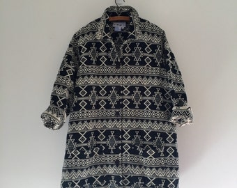 Vintage 90's Aztec Print Jacket / Black & White Tapestry Coat XL XXL
