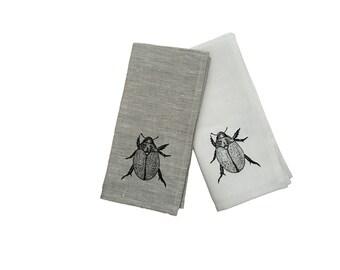 Black Christmas beetle linen napkins (set of 4)