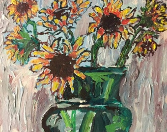 Sunflowers in Vase Matted Print