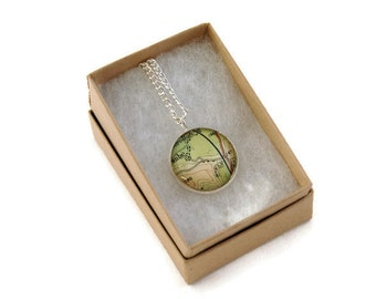 Vintage Map Necklace - Silver Plated - Upcycled Paper