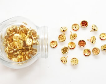Gold Button Thumb Tacks Metallic Push Pins Thumbtacks Bulletin Board Gold Office Supplies Girls School Supplies Chrome Tacks Dorm Room Decor