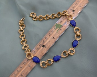 chain link navy blue glass stones goldtone Necklace