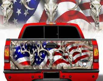 American flag Camouflage Tailgate Wrap - Camo Wraps w-Skulls  Patriotic 4x4 Truck Dodge Ford Chevy Toyota Hunter Decal Sticker AB001-TG