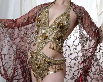 Embellished Gold Sequin Showgirl Body