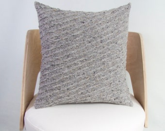 SALE Knit Wool Cushion Cover Chunky Knit Wool Pillow Grey Chunky Knitted Cushion Grey Wool Cushion Chunky Knitted Wool Grey Cushion SALE