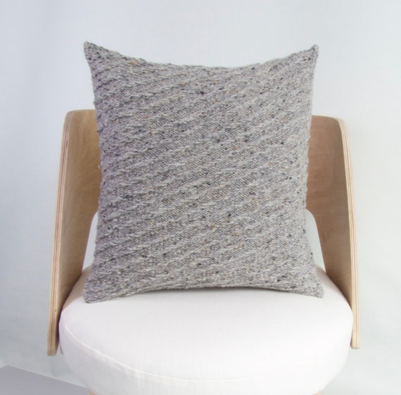 Knitting Pattern For Cushion Cover Chunky Wool : SALE Knit Wool Cushion Cover Chunky Knit Wool Pillow Grey
