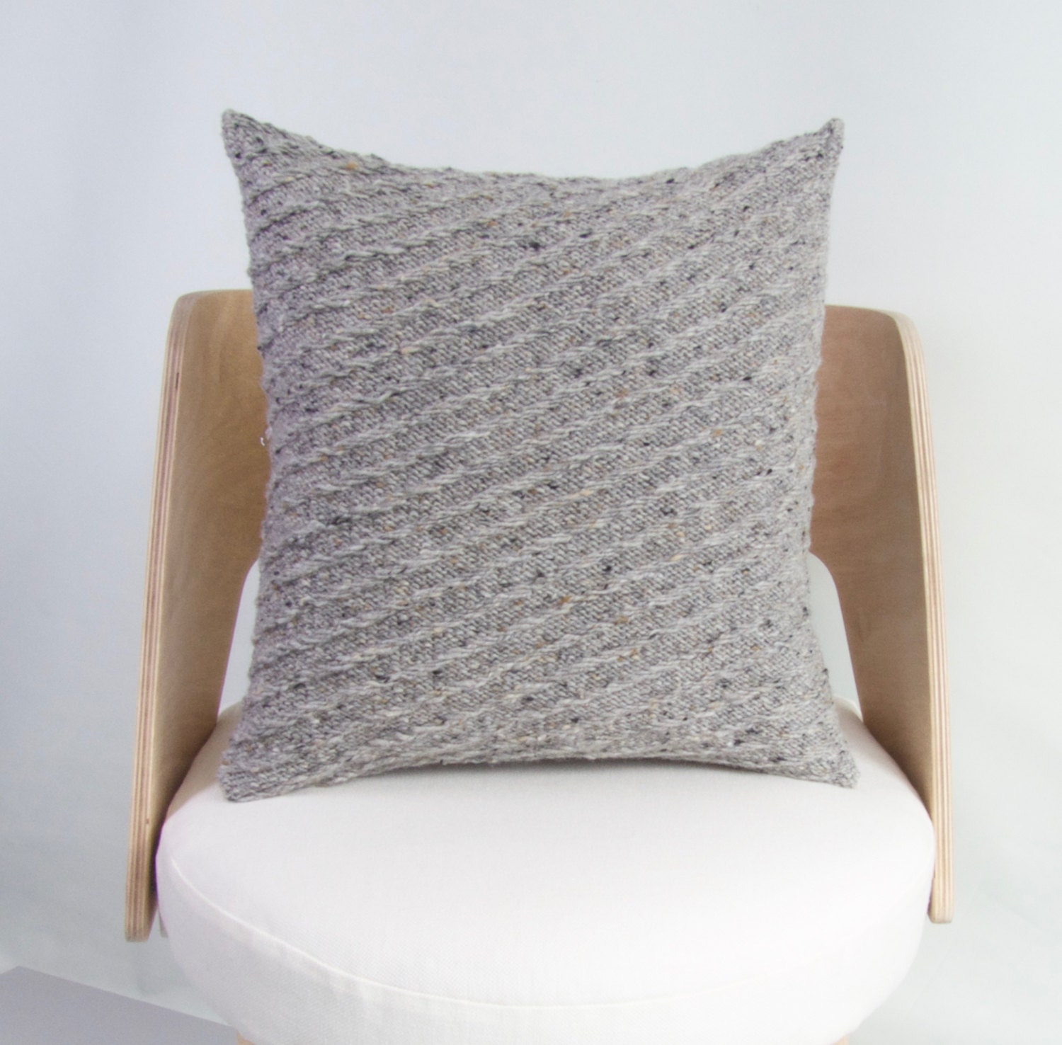 Wool Cushion Knitting Pattern : SALE Knit Wool Cushion Cover Chunky Knit Wool Pillow Grey