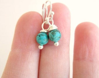 Small Genuine Turquoise Earrings. Natural Turquoise Dangle Earrings. Tiny Round Blue Green Turquoise Drop Earrings.  Turquoise Jewelry