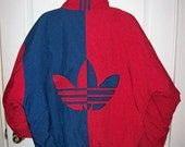 Vintage 90s Men's Red & Blue ADIDAS Trefoil Spellout Puffer Jacket Winter Coat Large Only 35 USD