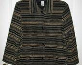Vintage Ladies Black Striped Shirt Jacket by Sag Harbor Size 8 P Only 7 USD