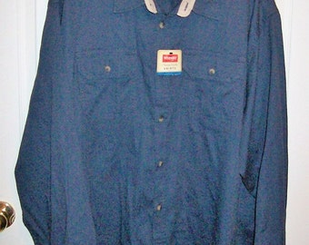 Vintage Men's Navy Blue Button Front Shirt by Wrangler 3X NOS Only 8 USD