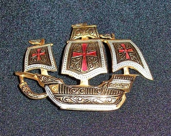 Vintage Spanish Damascene Sailing Ship Gold Plated Brooch Pin Niello Ware Only 6 USD