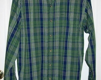 Vintage Men's Green & Blue Plaid Shirt by Saddlebrook Large Only 5 USD