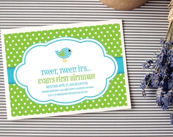 Instant Download - Tweet Aqua Chevron Bird with Lime Green Polka Dot Invitation, Custom Printable