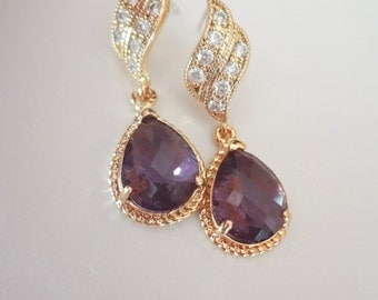 Gold amethyst earrings - Bridal jewelry - Bridesmaids - Gold over sterling wave posts - Braided frames - Bridal jewelry ~ OUTSTANDING -