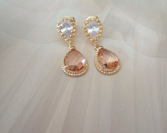Champagne, peach gold earrings - 14k gold over sterling posts - Wedding earrings  ~ Bridesmaids jewelry - BEST SELLER - GIFT