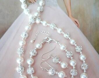 Pearl jewelry set ~ Swarovski pearl and crystal set ~ 3 piece set, Necklace, Bracelet and Earrings set, Wedding jewelry set, RAE