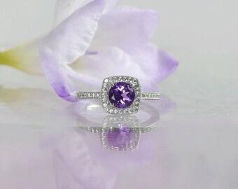Custom Birthstone Ring, Custom Birthstone Jewelry, Amethyst, Natural Amethyst, February Birthstone, Amethyst Sterling Ring