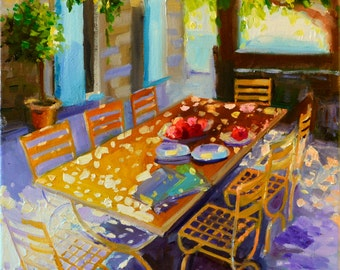 Art Print of PROVINCIAL TABLE, purple and ochre, sunlit courtyard, dappled light, French shutters