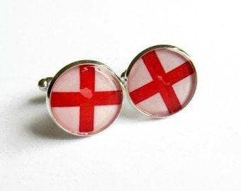 English Flag Cuff Links, England Cuff Links, St George Flag Resin Cufflinks, Cuff Links, Gift for Him, Husband, Boyfriend